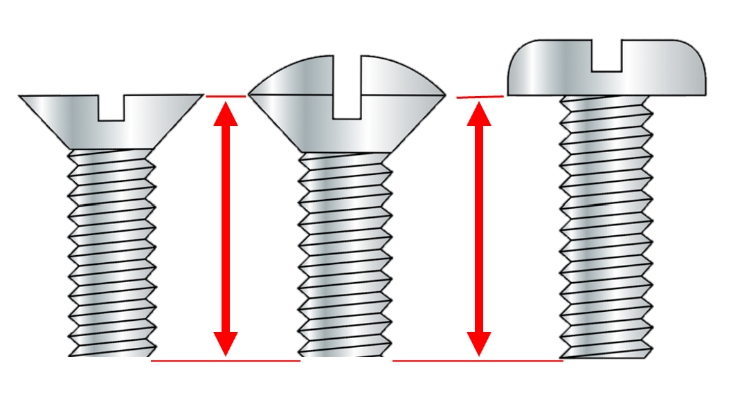 How to measure length of screw and bolt with different heads