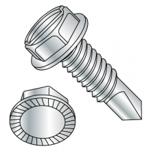 "Serrated Hex Washer - Slotted - 7/16"" A.F. - Self Drilling Screws -  Zinc"