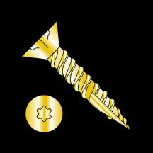 6 Lobe Flat Head with Nibs Coarse Thread Type 17 Exterior Screws Zinc Yellow