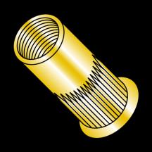 Metric Thin Head Round Open End Ribbed Rivet Nut Steel Zinc Yellow Zinc