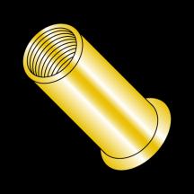 Small Head Rivet Nut Steel Zinc Yellow Dichromate NON RIBBED