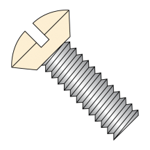 Slotted Oval Undercut Machine Screw Fully Threaded Zinc with Ivory Painted Head