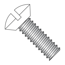 Slotted Oval Undercut Machine Screw Fully Threaded Zinc with White Painted Heads